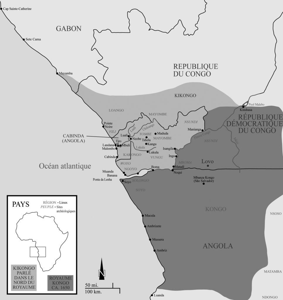 Le royaume de Kongo, vers 1650. Le massif de Lovo se trouve dans le nord du royaume de Kongo.